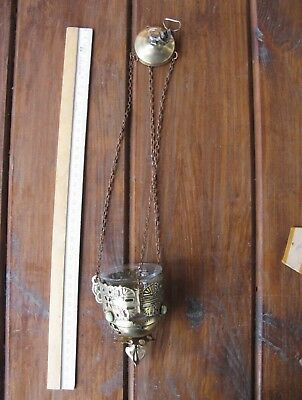 Russian, Lamp for Icon,Lampada Orthodox Antique old bronze with glass