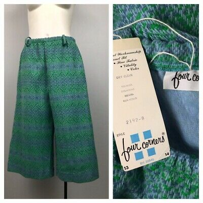 1960s Gaucho Shorts / 60s NOS Embroidered Palazzo Shorts Unworn / Large