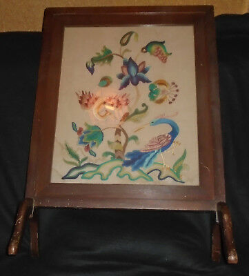 Vintage Fire Screen Guard Wood Framed Tapestry Embroidered Antique Hand Craft