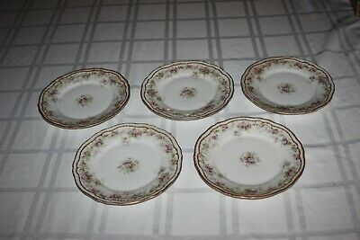 """5 HAVILAND Limoges SCHLEIGER 855A 7.5"""" Salad Plate Double Gold Trim with Flowers"""