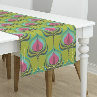 Table Runner Retro Art Deco Bloom Vintage Inspired Floral Mod Cotton Sateen