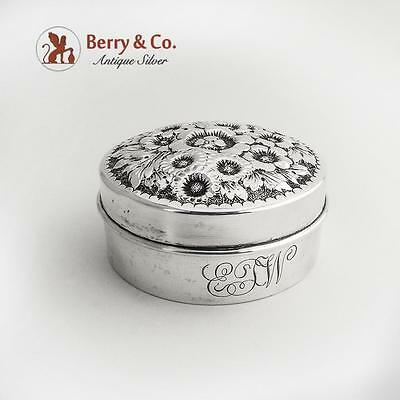 Floral Repousse Round Box Sterling Silver Shreve Co 1900
