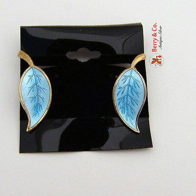 Vintage Earrings Meka Sterling Silver Light Blue Enamel Leaf Form Clip