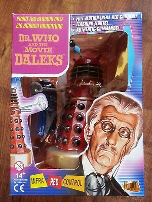 """Dr Who & The Movie Dalek Red Black & Gold Infra Red Remote Control 8"""" Figure New"""