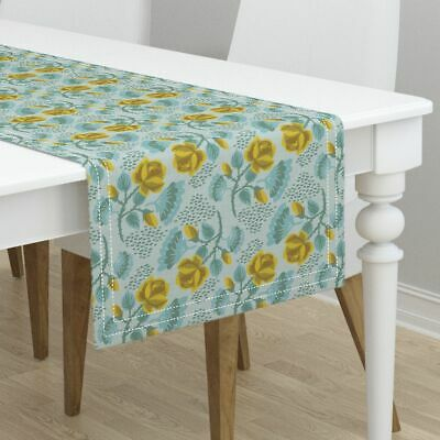 Table Runner Vintage Style Yellow Rose Linen Texture Yellow Roses Cotton Sateen