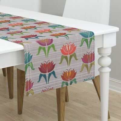 Table Runner Tulips Art Deco Bright Floral Vintage Style Linen Cotton Sateen