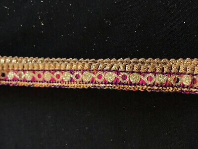 X35 9 Metres Gold Fancy Sparkly Dotted Zari Trimming Border Indian Ethnic