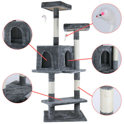 """57.25"""" Cat Tree Furniture Scratch Post Pet Play House Home Mouse Toy Tower Navy"""