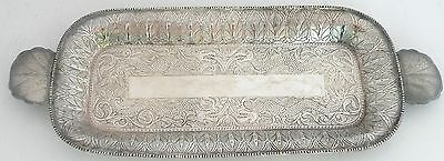 Large Old Chinese export Sterling Silver hand etched Dragon Tray Plate Platter