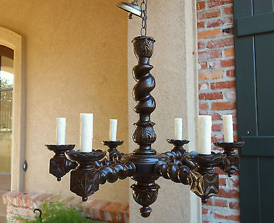 Antique FRENCH Carved Oak Barley Twist Chandelier Light Fixture Vintage Country