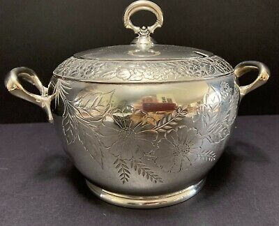 Hartford Silverplate COVERED ICE BUCKET Chased & Embossed FLOWERS Open HANDLES