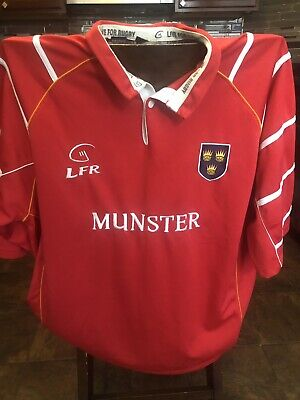 43ab86a6c91 Munster Rugby LONG SLEEVE Shirt Ireland Live for Rugby Red 1/4 Button Mens  XXL