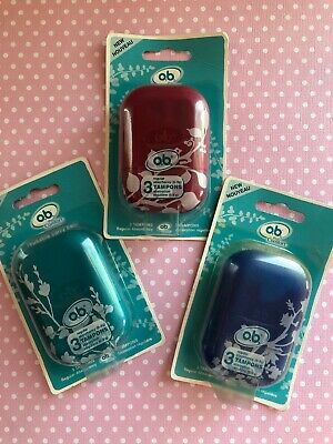 O.B. Pro Comfort Reusable Carry Case with 3 Regular Tampons Asst Colors Lot of 3