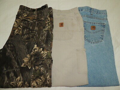 Lot Of 3 Carhartt Levis Strauss 501 Size 38 X 32 Carpenter Cotton Pants Mens Men's Clothing Clothing, Shoes & Accessories