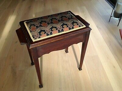 Art Deco style piano stool, tapestry fabric black and gold