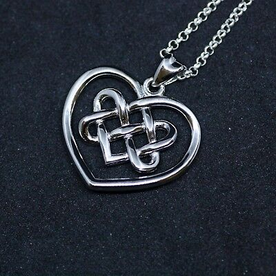 Celtic Love Knot Infinity Heart Necklace Sterling Silver 925 love Pendant Canada