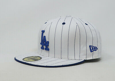 New Era 59Fifty Hat Mens MLB Los Angeles Dodgers White Blue Pinstripe Fitted Cap