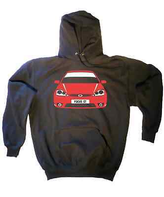 CUSTOM HTees hoody: FORD FOCUS MK1 ST and RS, Pick car colour & plate, S-XXL