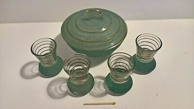 Vintage 1950s atomic mid century aqua frosted glass 4 shot glasses + lidded dish