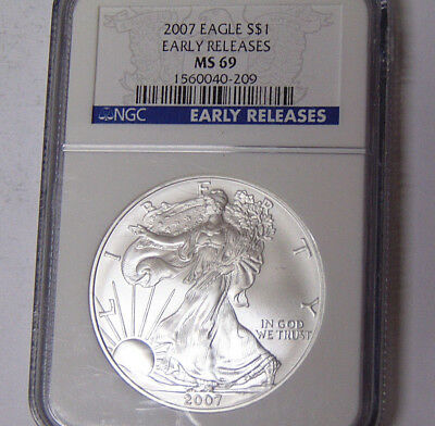 NGC MS69 2007 American Silver Eagle 1 oz .999 Silver Dollar Early Releases