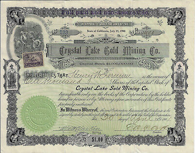 NEVADA 1901 Crystal Lake Gold Mining Company Stock Certificate