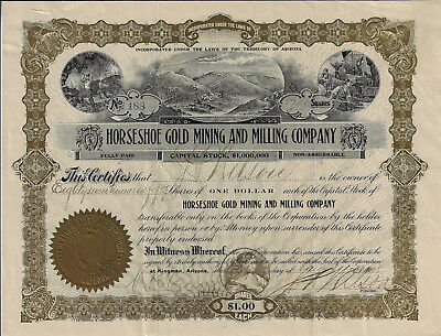 ARIZONA Territory 1908 Horseshoe Gold Mining and Milling Co Stock Certificate