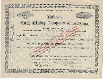 ARIZONA 1902 Mohave Gold Mining Company of Arizona Stock Certificate