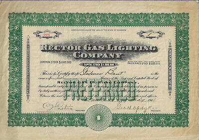 NEW YORK 1911 Rector Gas Lighting Company Stock Certificate