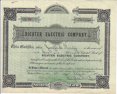 NEW JERSEY 1893 Richter Electric Company Stock Certificate #22