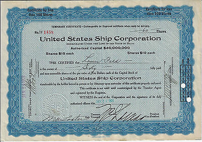 MAINE 1921 United States Ship Corporation Stock Certificate