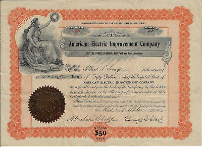 NEW JERSEY 1902 American Electric Improvement Company Stock Certificate #16