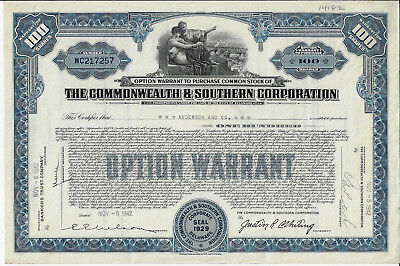 DELAWARE 1942 The Commonwealth & Southern Corporation Stock Certificate