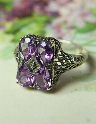 Victorian Trading Co Amethyst Sterling Silver Filigree Art Deco Ring Size 5