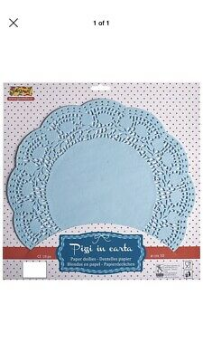 Doilies Round 34.5cm Blue 15's - Paper Lace Party Cake Plates Trays Rectangular