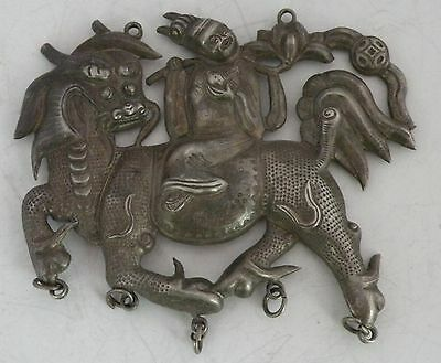 Antique Chinese silver HUGE pendant necklace warrior riding Dragon horse, signed