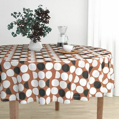 Round Tablecloth Moon Abstract Moon Phase Geometric Circles Phase Cotton Sateen