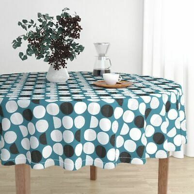 Round Tablecloth Moon Abstract Moon Phase Geometric Circles Phases Cotton Sateen
