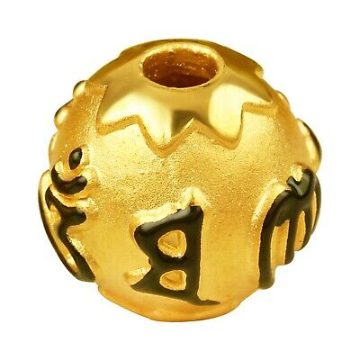 1PCS Pure 999 24K Yellow Gold Bead 3D New Design Lucky Enamel 六字真言 Pendant