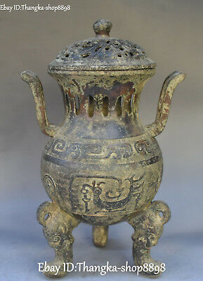 "13"" Ancient Bronze Ware Carving Phoenix Ding Incense Burner Censer Incensory"