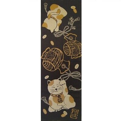 TENUGUI Japanese Cotton Fabric Cloth Hand Towel MADE IN JAPAN 100X35cm Lucky Cat