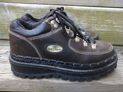 cf054ae570 Vintage SKECHERS~ Brown Leather JAMMERS Chunky 90's Platform TOUGH SHOES ~Size  7