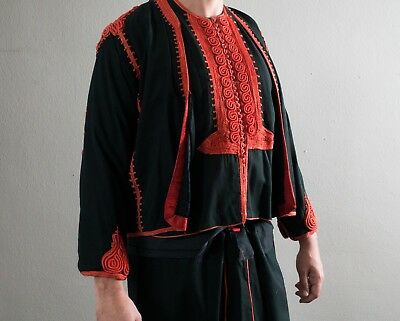 Vintage Ottoman Men's Turkish Black and Red Uniform Costume Antique Military