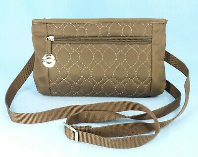 Travelon Brown Quilted Crossbody Bag Travel Shoulder Org Wallet Purse S $42 EXC
