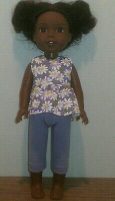"14.5/"" Doll Clothes-fit American Girl Wellie Wishers-Top /& Capri-Pink Daisy"