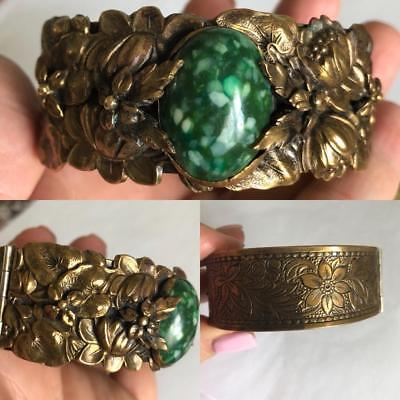 Vintage Antique Art Nouveau Hinged Bracelet Jade Green Center Stone Brass Bangle