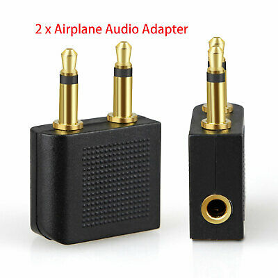 2x Airplane Airline Headphone Earphone Adapter For Audio Jack 2 Plug Connector