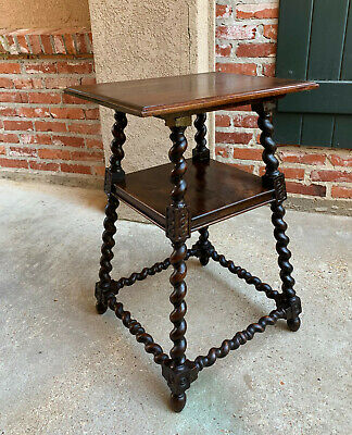 Antique English Oak BARLEY TWIST Lamp Side Sofa TABLE BARLEY TWIST Square