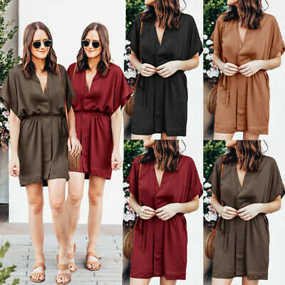 Summer Belted Mini Shirt Dress Boho Women Holiday Beach Sexy Casual Sundress