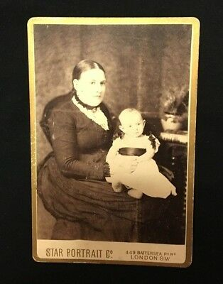 VINTAGE CABINET CARD PHOTO OF A MOTHER AND CHILD BY STAR PORTRAIT CO. c.1880's