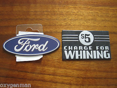 (2) FORD Oval & $5 CHARGE FOR WHINING Station Garage Metal Toolbox Magnets